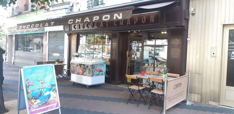 La chocolaterie Chapon est l'une des meilleurs en France et elle est située quelque pas de l'appartement . Miam-miam. The Chapon chocolate factory is one of the best in France and is located just steps from the apartment. Yum yum.