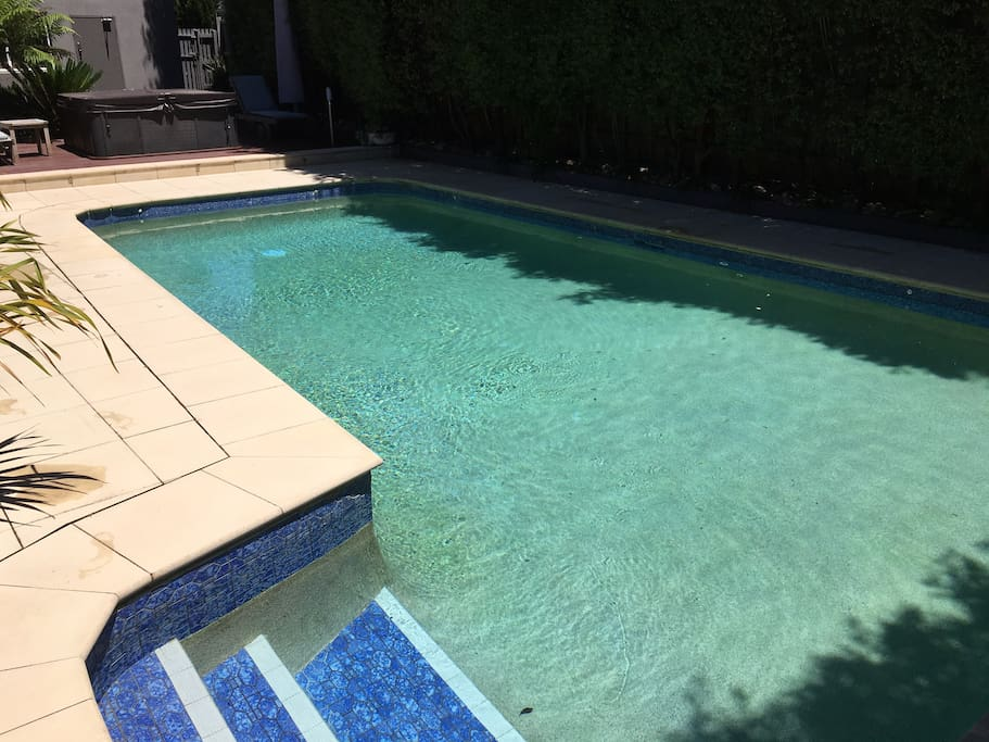solar heated pool and 6 person spa
