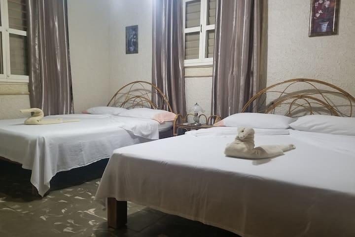 Cómoda y moderna habitación con 2 camas dobles, aire acondicionado (Split) y cubierta de cortinas para evitar la luz solar en las mañanas.