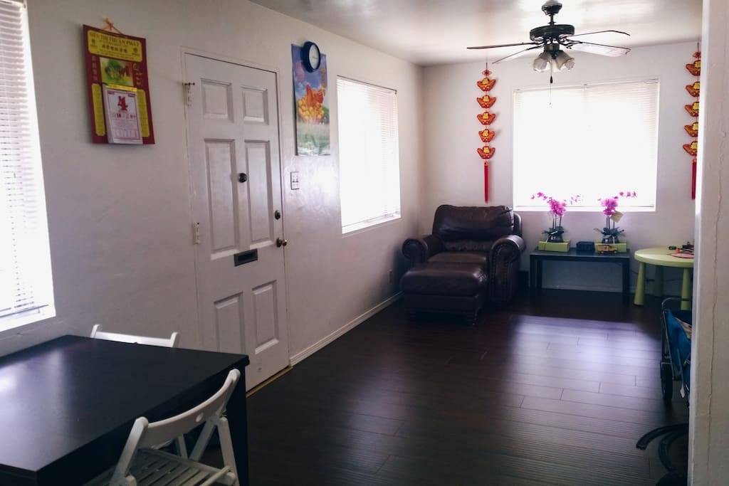 Living room, common space. If you drive, parking is always available and is free.