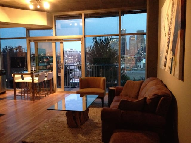Gorgeous modern high-rise Denver loft skyline view