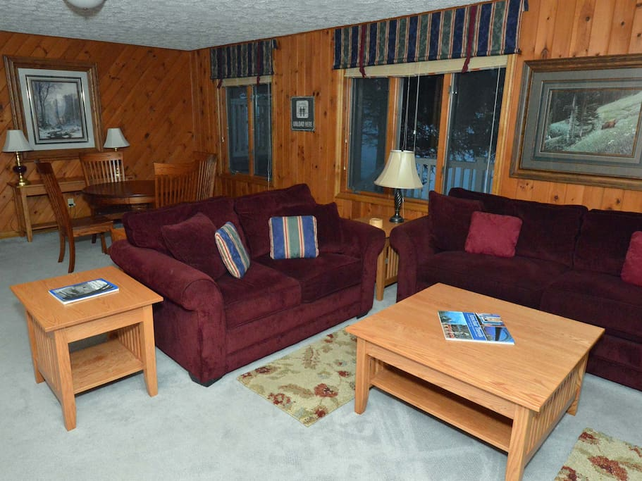 "Great Room, 52"" Flat Screen TV/BluRay DVD, wood fireplace."