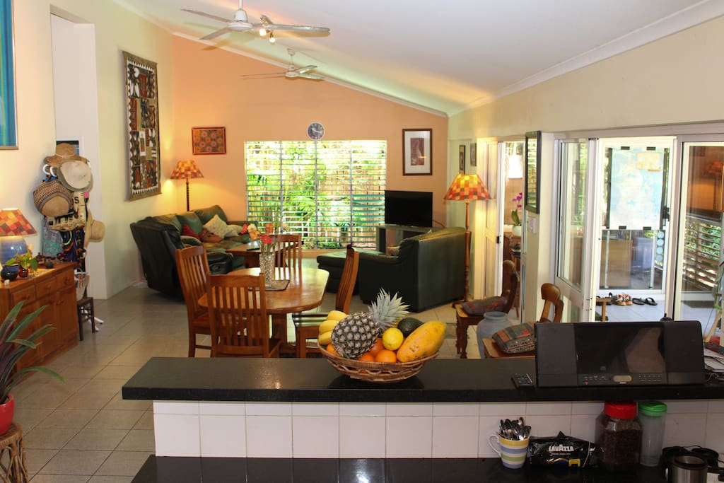 Living room and kitchen is all one large airy space.