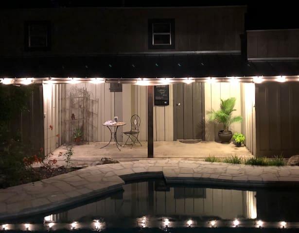 Nighttime poolside.