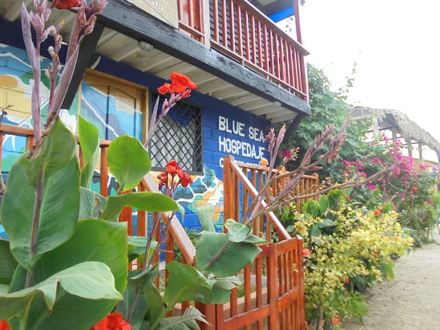 Blue Sea hostel, cama doble vista al mar