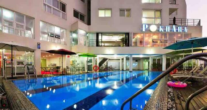 아쿠아리우스 에서 편안한 휴가를 즐기세요! 미온수 수영장 구비! 새로운 침구류 구비
