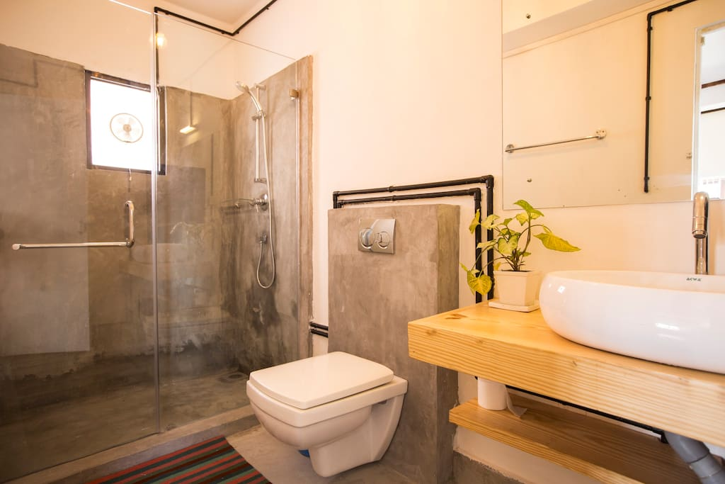 Walk-in shower in your luxurious bathroom. No more wet floors!