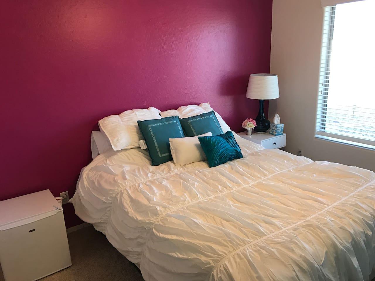 Guest bedroom has queen sized bed, mini fridge, tv,and closet.