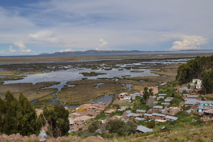 House in front the Lake Titicaca Puno