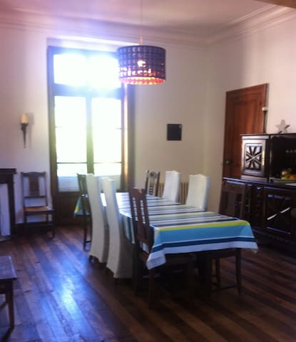 The shared dining room - setting for your breakfast and if you decide to take it the evening meal