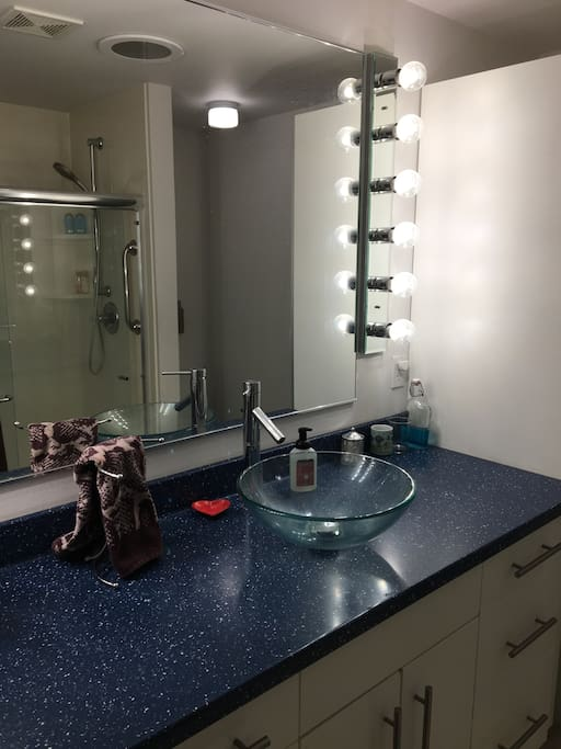 the bathroom has tons of counter space, tons of storage, and a nice roomy shower (sorry no tub)