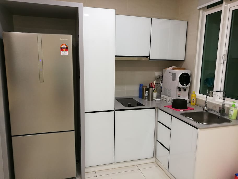 Kitchen; water dispenser available for use