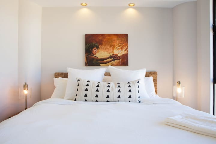 Relax in our Master Bedroom, blackout shades for sleeping in, Artist Taryn Alessandro artwork