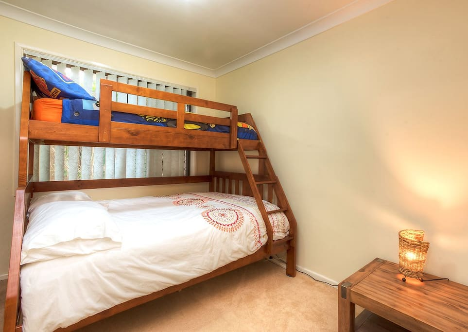 Second bedroom bunks: double and single beds