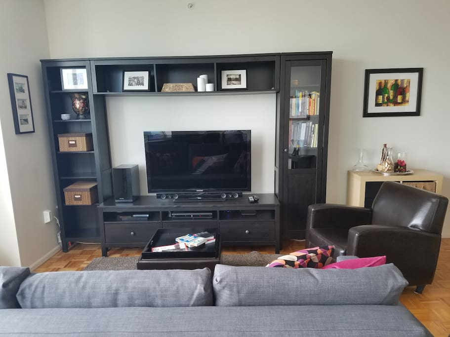 Entertainment center with a cable HDTV w'PREMIUM channels and Sony Playstation 3