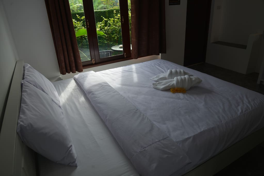 Bed with garden view