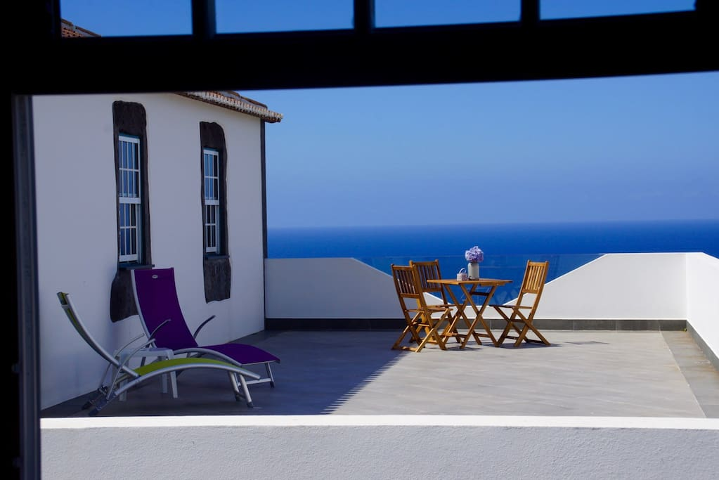 Terrace, sea view from kitchen