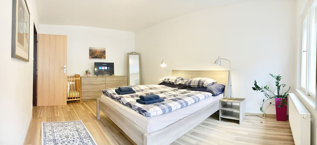 Two bedrooms flat with large kitchen/living room in ABSOLUTE CENTER of Old Prague, everything WALKING DISTANCE. High speed WiFi, TV, washer/dryer, dishwasher, stove, oven, microwave, coffee maker, toaster and huge fridge are fully at your disposal.
