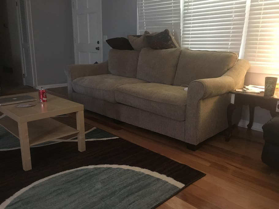 Couch in shared living room available for guests.