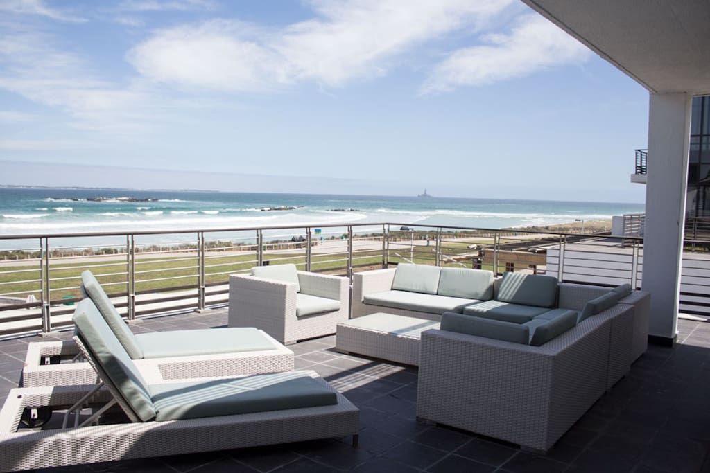 The deck, looking out over Table Bay, Robben Island and views of Table Mountain