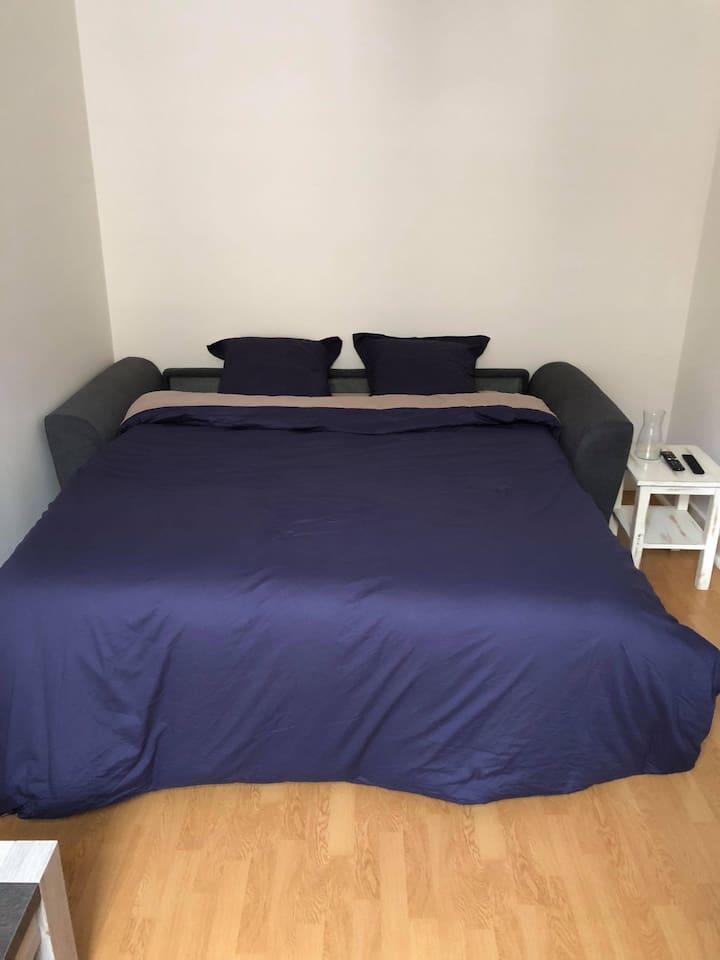 canapé lit 160x190 avec véritable matelas