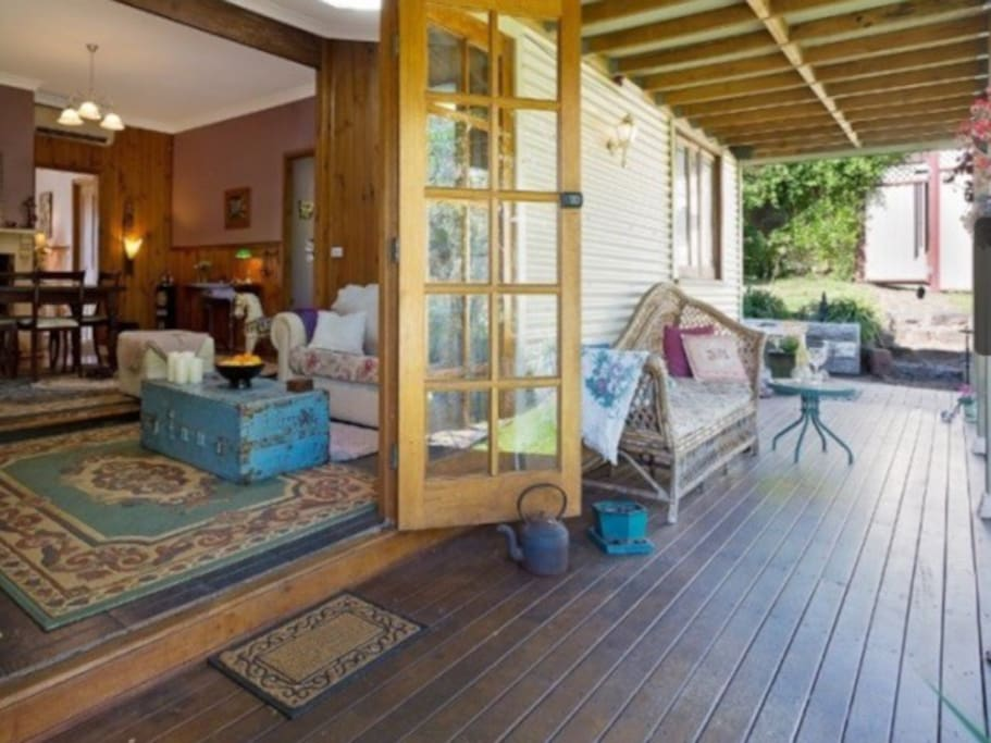 French Doors leading out to decking and spa.