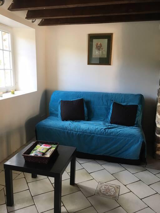 coin salon et son canapé lit