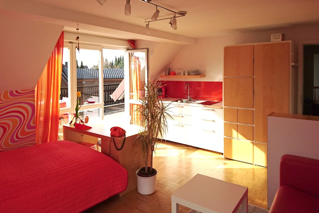 Sunny Studio with own terrasse and kitchen Apartments