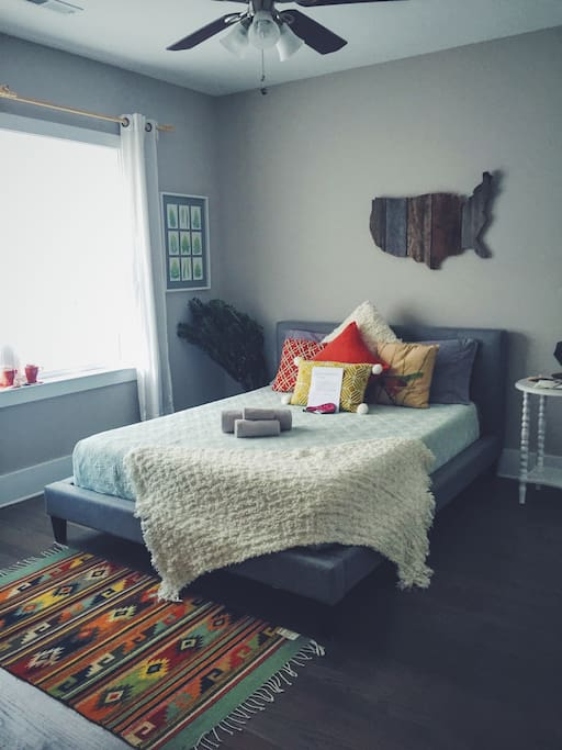 Cozy and colorful room, filled with items from our many travels.