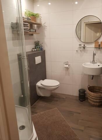 Badkamer met toilet en douche incl. handdoeken.