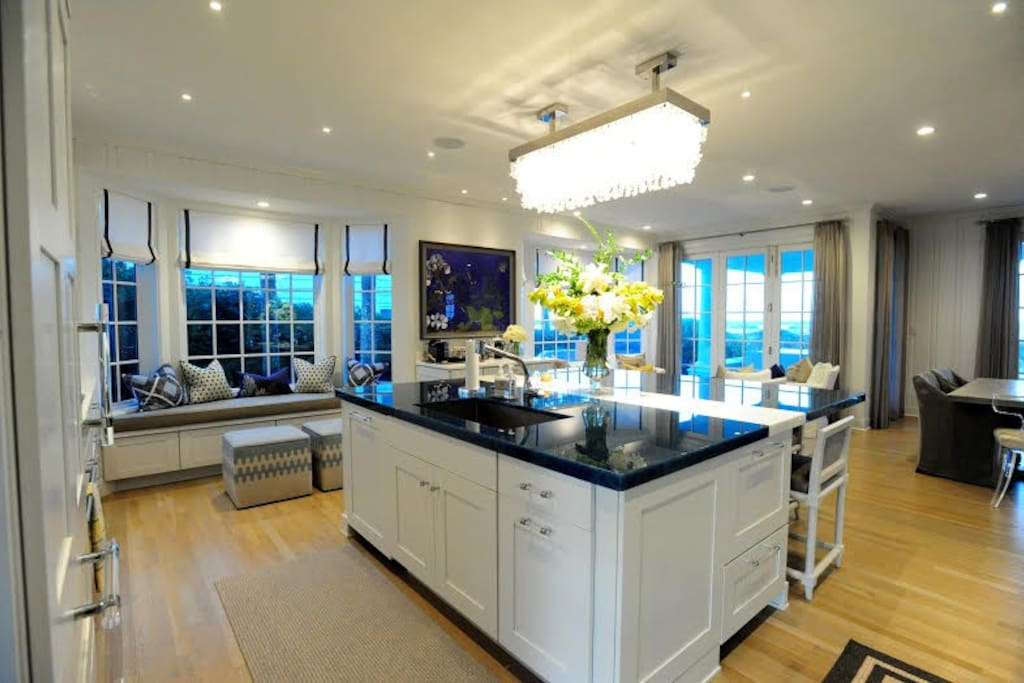 Chef's kitchen with beach views - open the doors and let in the breeze and sounds of the waves