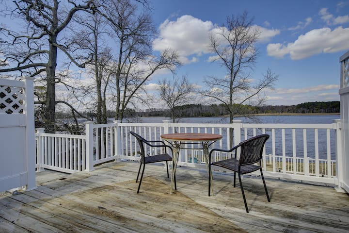 Dine on the deck overlooking the water