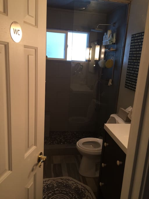 Totally remodeled bathroom with steam shower and heated floors
