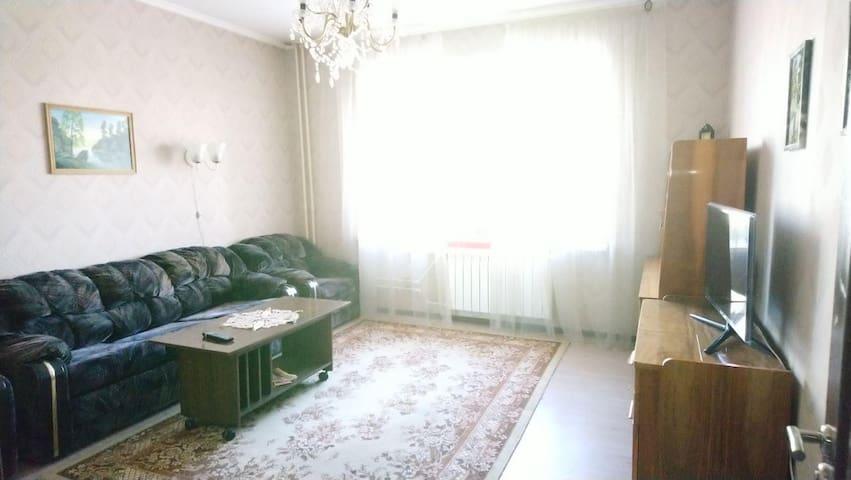 Большая комната. Диван, кресла, большой телевизор.