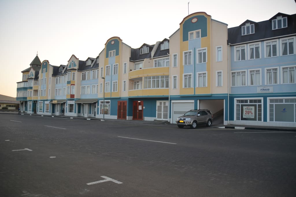 Streetview of the complex with garage entrance