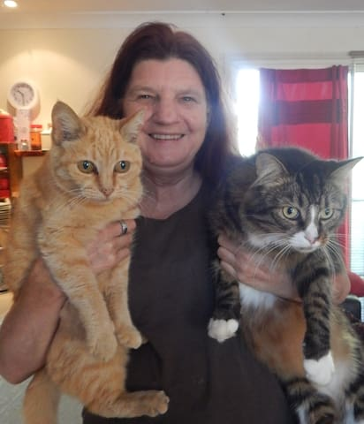 Yvonne and the cats!