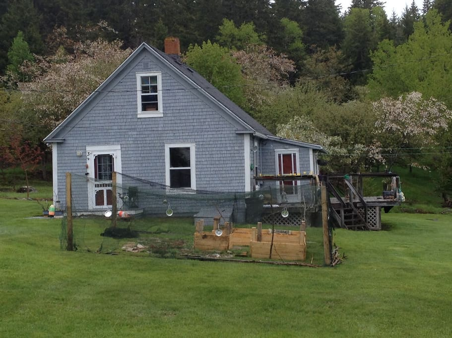 This is the cottage, seen from the road with the sunroom & deck just to the right. Garden (with deer fence) in front. The property extends in the back to where you can see apple trees & woods in behind the cottage. There is also a small brook running through the property behind the cottage.