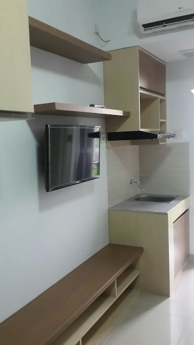 """Complete with 29"""" TV, water heater and washing sink"""