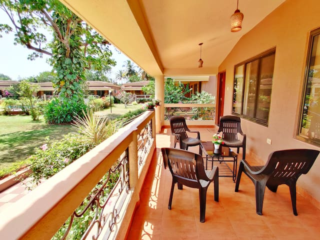 lush Garden View 2BHK Villa with Pool in Candolim