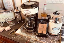 We provide you with fresh roasted coffee from Broast Coffee, locally roasted in their shop in Cookeville. We also have you a pint of half- half in the fridge! And Ofcourse raw sugar, Splenda, sweet-low.