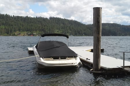 Waterfront lake cabin 60 ft sandy beach and dock - Stuga
