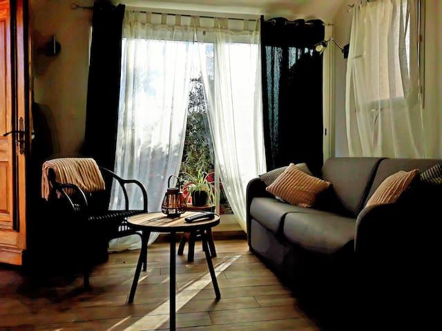 Entièrement meublé, le logement dispose d'un coin salon  avec canapé lit, téléviseur écran plat......
