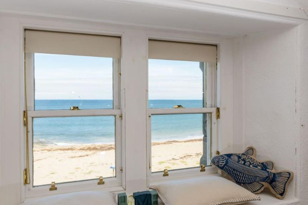 View of golden sandy beach from the double bedroom!