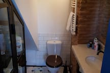This is the bathroom that is decorated with vintage tiles.