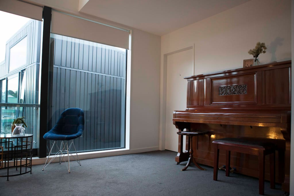 There's no TV but you can play a few songs on the piano to unwind.