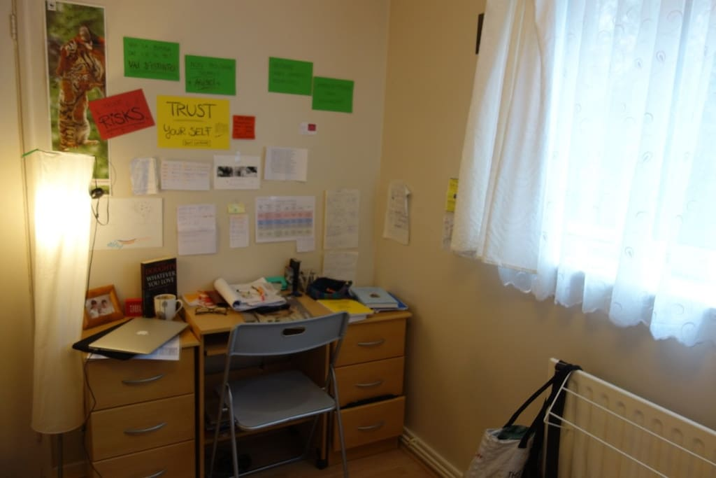 Desk, chair, light... and my notes hanging on the walls! (sorry my mess will be tidy up)