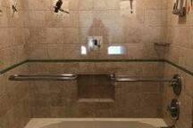 Tiled second floor shower