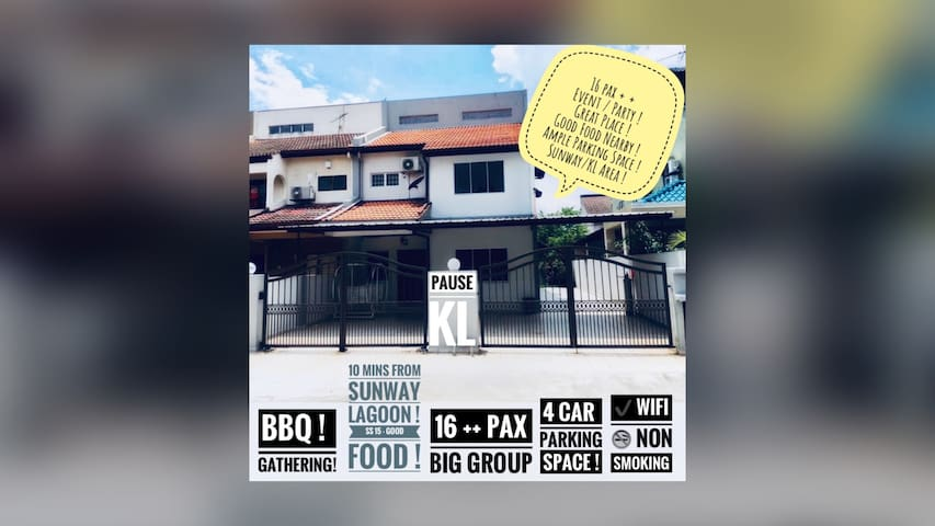 Near Sunway Pyramid + 5 AC Rooms + Spacious Home