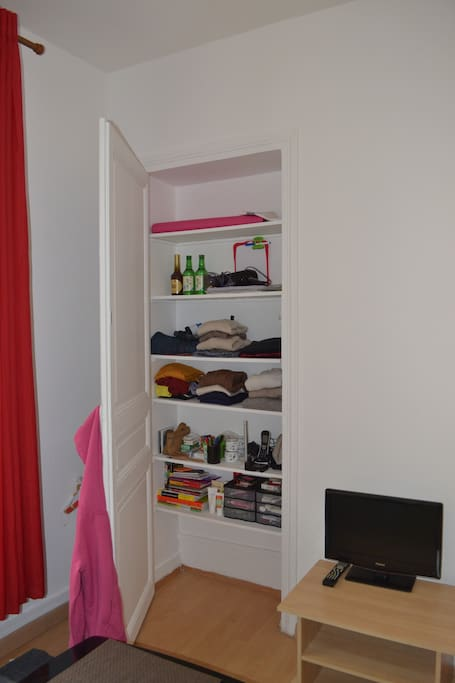 There is a closet that will be emptied so you can keep your belongings