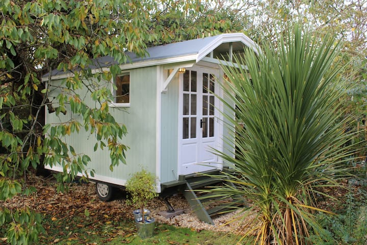 Shepherd's hut in rural retreat